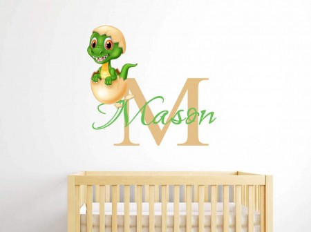 Personalised name baby dinosaur wall decal