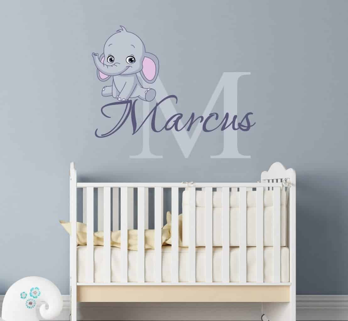 Personalised name baby elephant wall decal