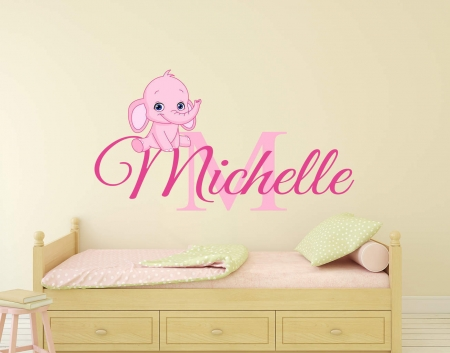 Personalised name baby elephant wall decal sticker
