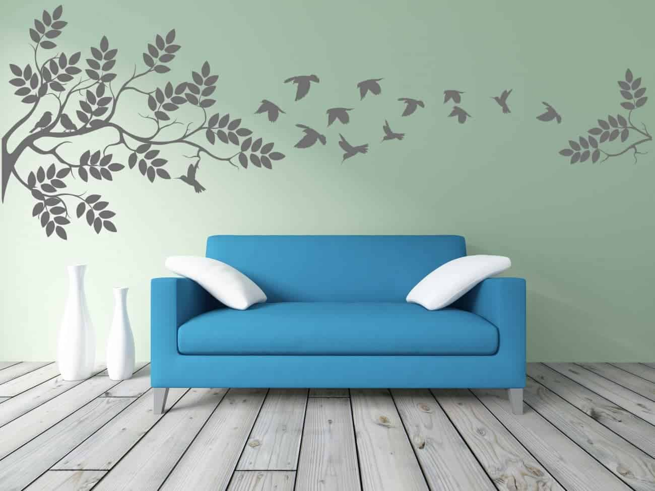 Branches flying birds wall decal sticker