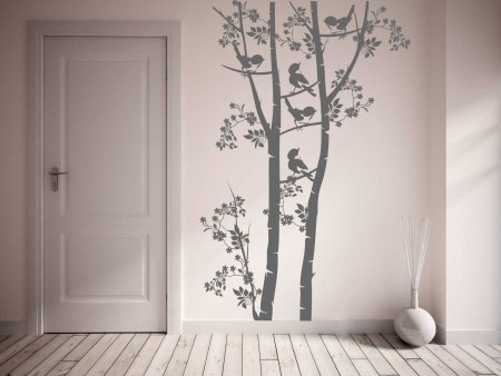 Tree branch birds wall decal