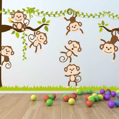 Monkey tree wall decal sticker Monkey tree wall decal sticker