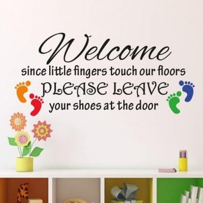 Please leave your shoes at the door wall decal sticker
