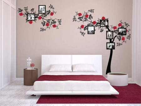 Rose tree photo frames wall decal sticker