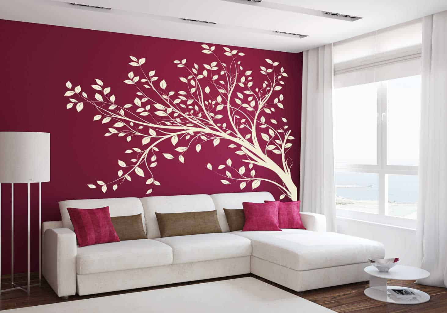 Tree branch blowing wall decal tree wall decal sticker for Stickers para pared decorativos