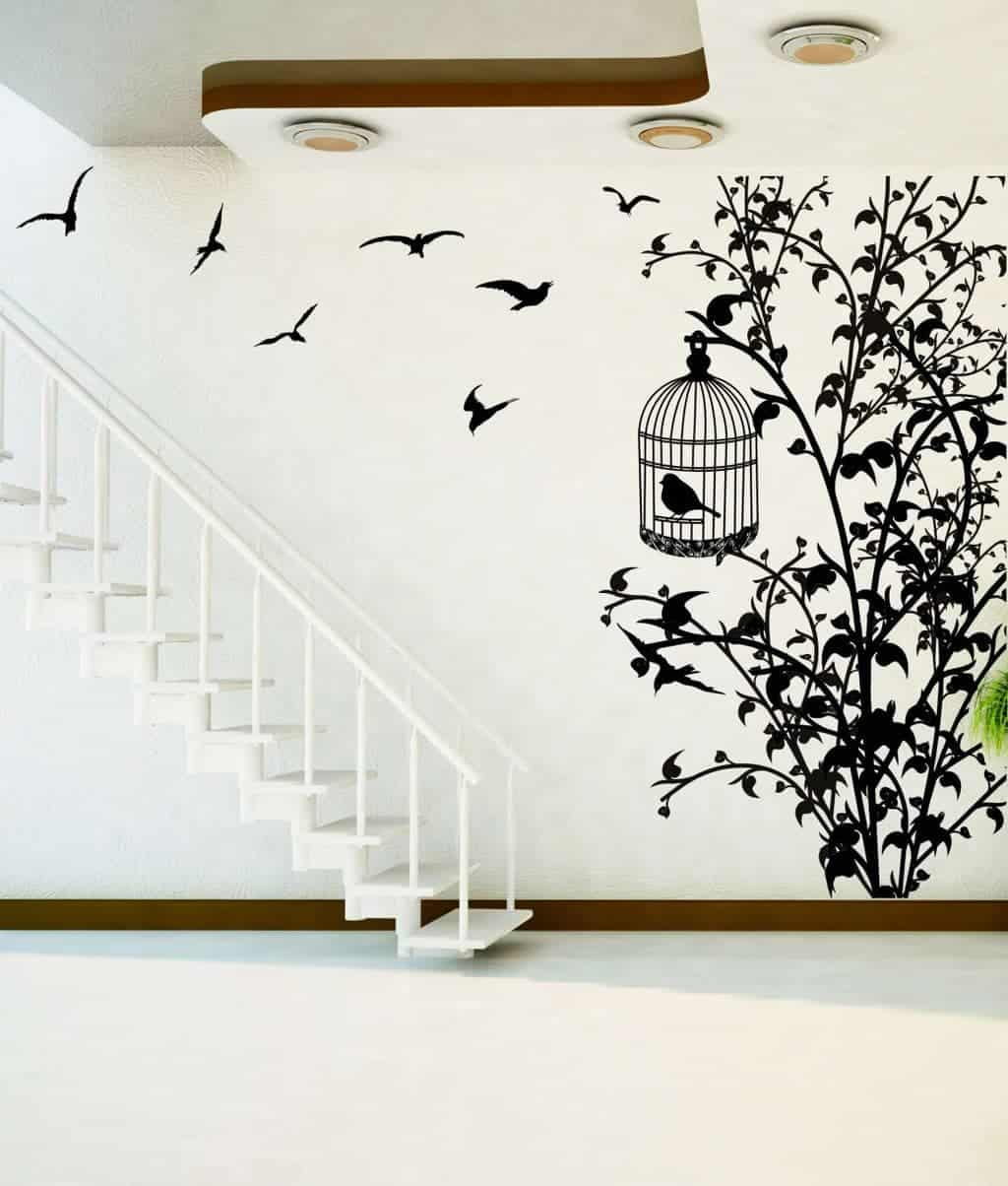 Bird cage tree wall decal sticker