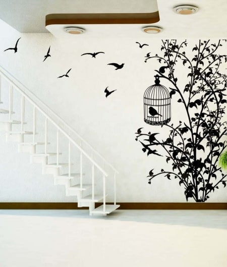 Bird cage tree wall decal sticker