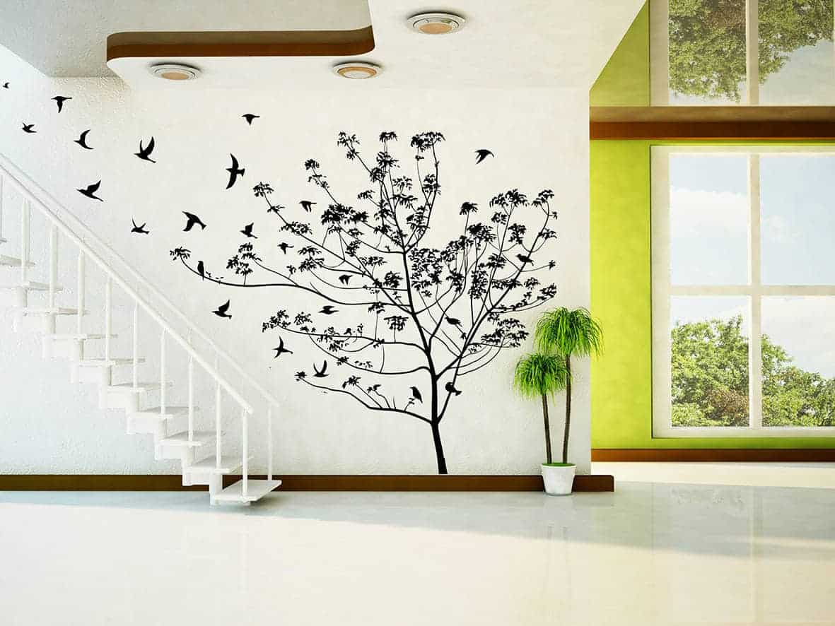 Birds flying tree wall decal sticker