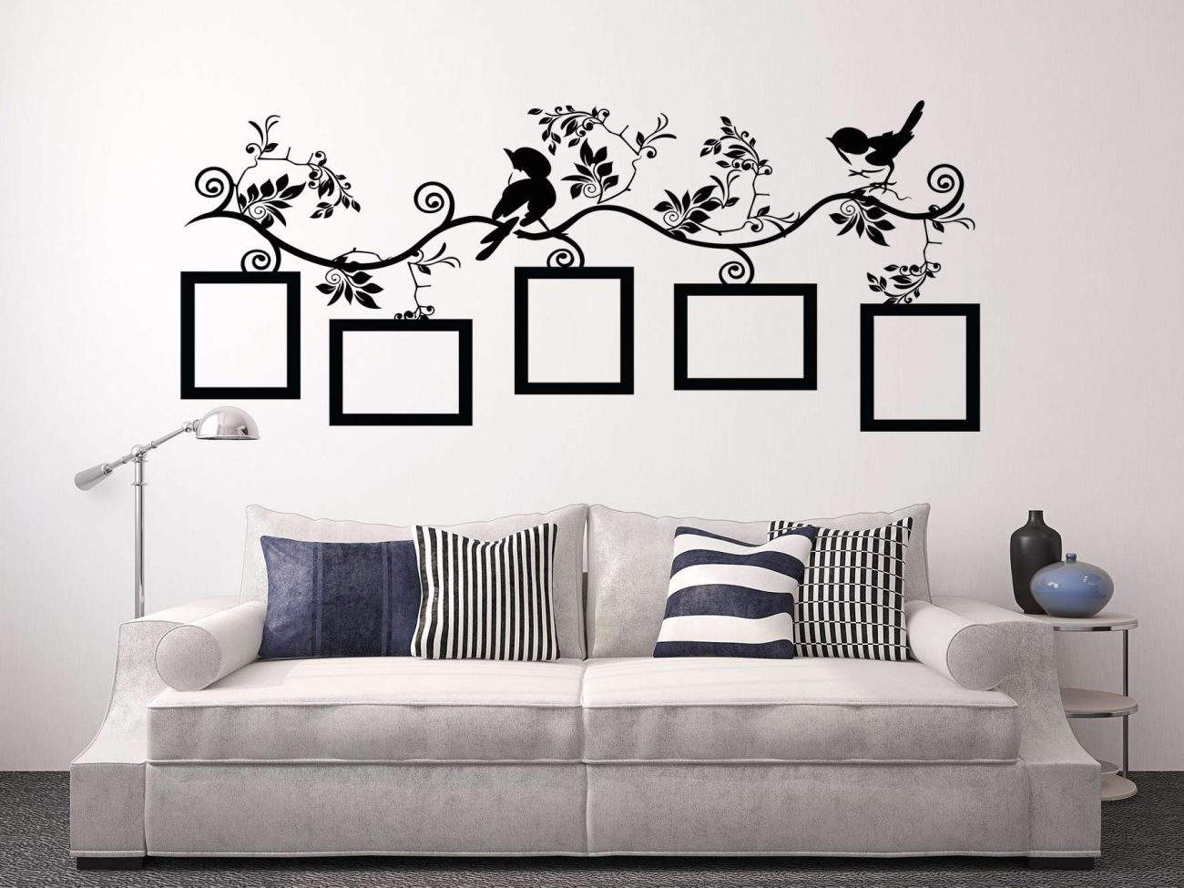 Bird photo frame branch wall decal