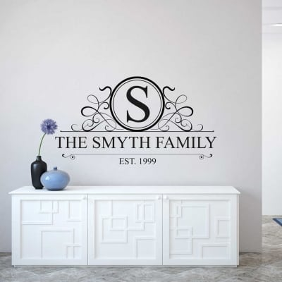 Personalised family name monogram wall decal | Personalised wall decal sticker | wall decal