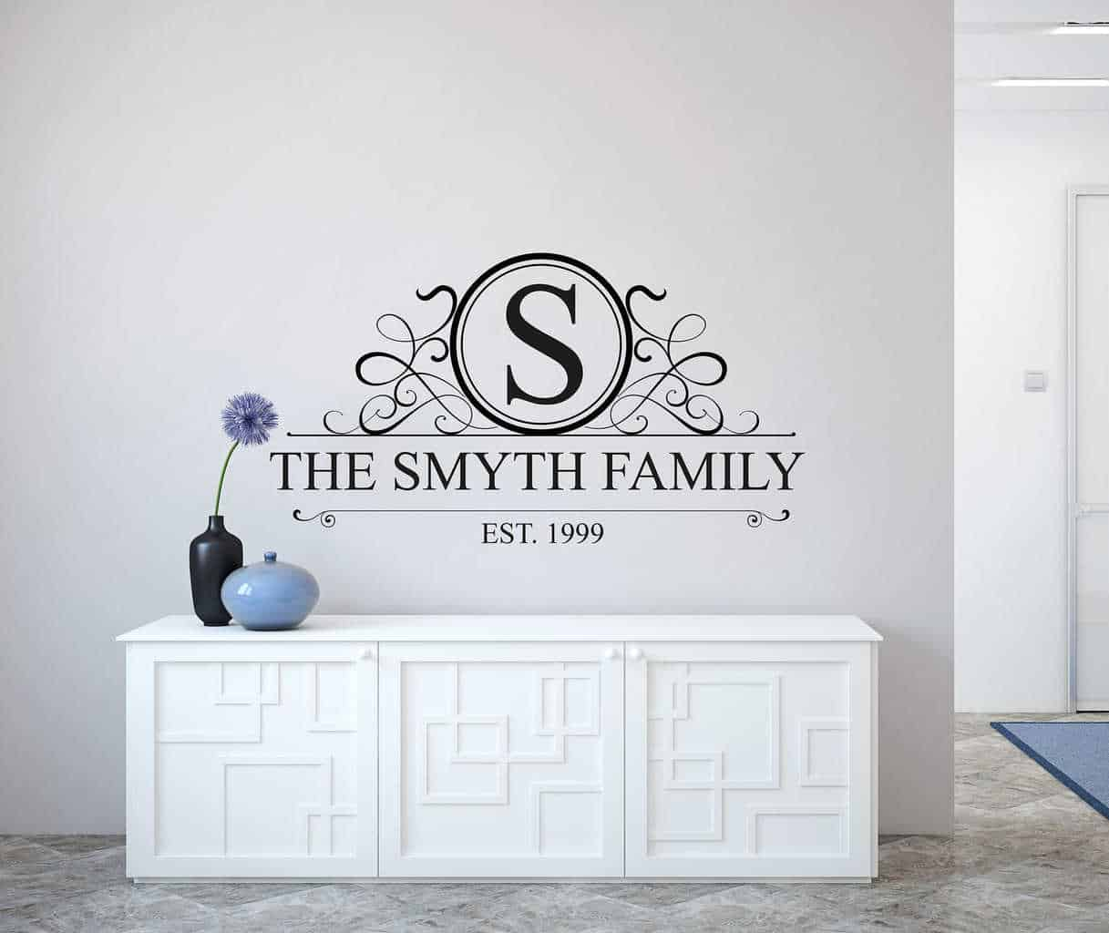 Personalised Family Name Monogram Wall Decal | Personalised Wall Decal  Sticker | Wall Decal Part 90