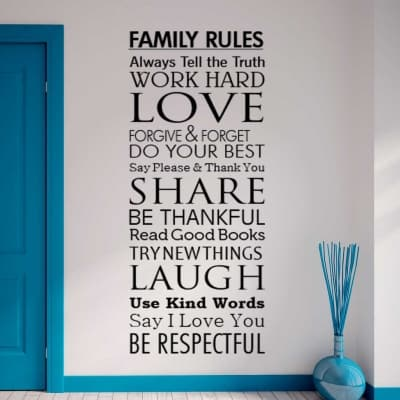 Family Rules wall decal sticker