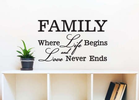 Family where life begins wall art decal