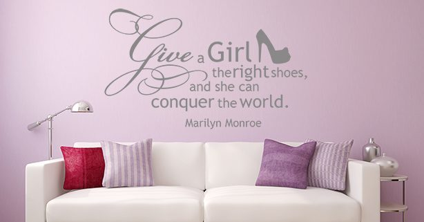 Give a girl the right shoes wall decal sticker