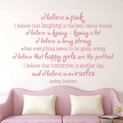 I believe in pink wall decal sticker