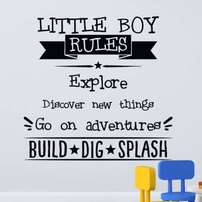 Little boys rules wall decal sticker