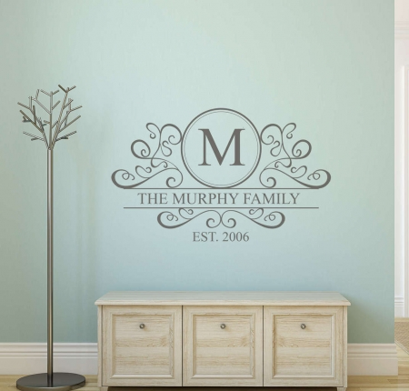 Personalised family name monogram decal   Personalised wall decal sticker