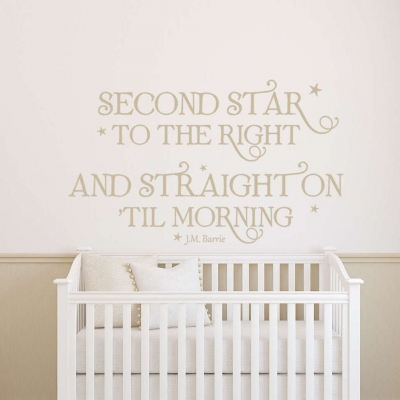 Second star to the right wall decal sticker