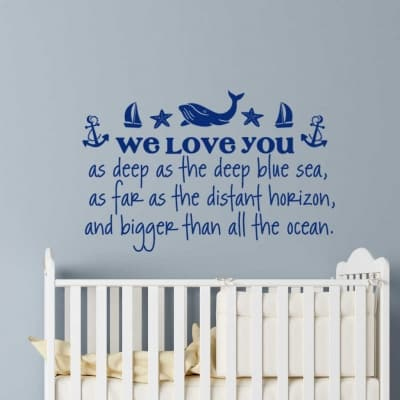 We love you as deep as the sea wall decal sticker