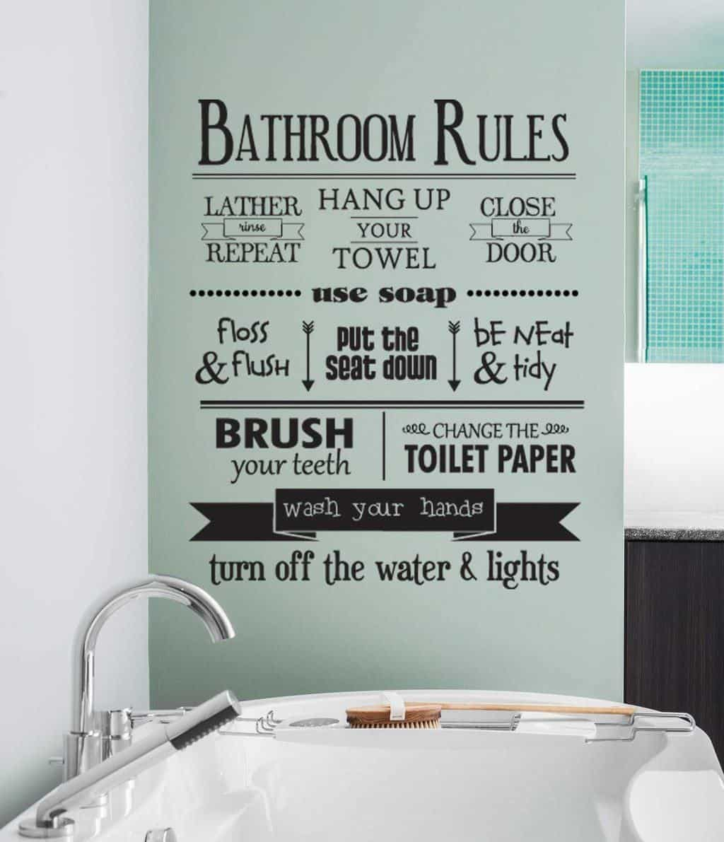 Bathroom rules wall decal sticker | Bathroom rules sticker