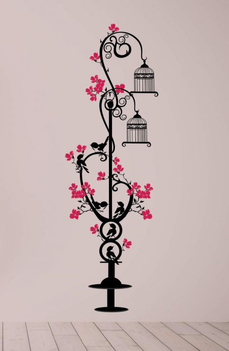Bird cage post wall decal