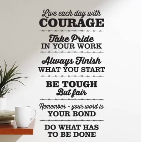 Live Each Day With Courage wall decal