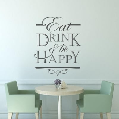 Eat drink be happy wall decal sticker