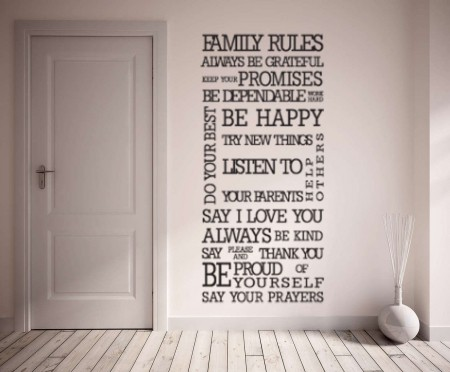 Family Rules wall art decal sticker