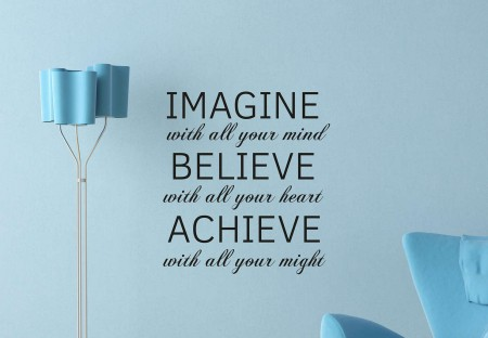 Imagine Believe Achieve wall decal sticker