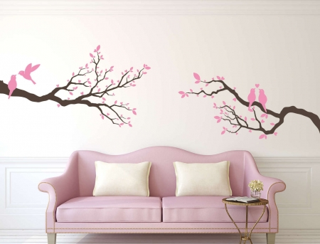 Love bird branches wall decal