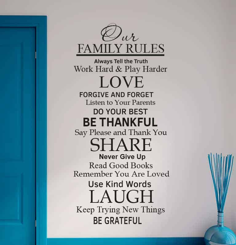 Our Family Rules wall decal sticker