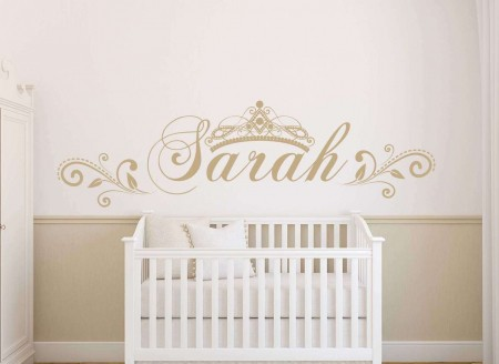 Princess crown personalised wall decal sticker