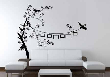 Bird photo frame tree wall decal