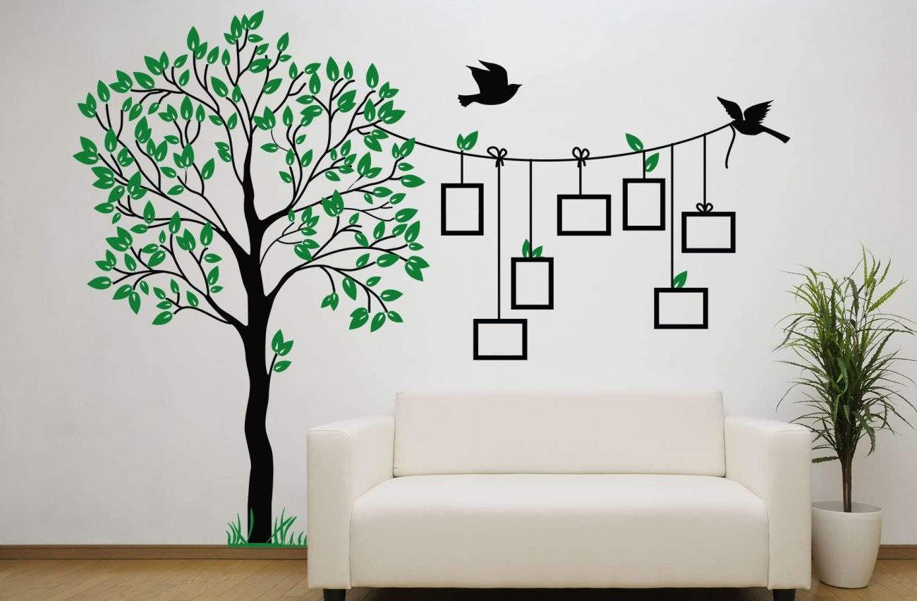Bird photo frame tree wall decal sticker