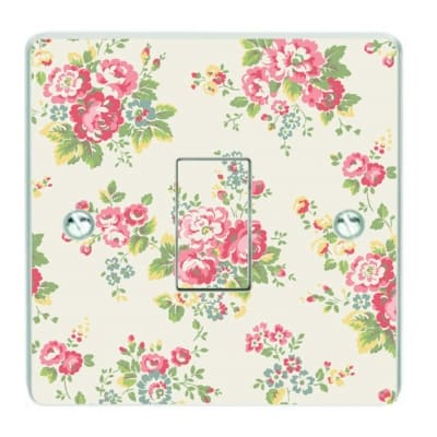 Cream Floral Patterned Light Switch Sticker