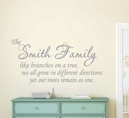 Personalised family roots wall decal sticker