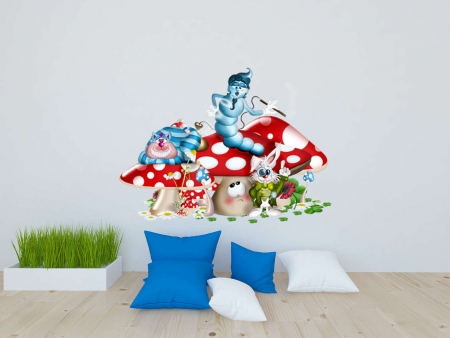 Alice in wonderland mushroom wall decal sticker