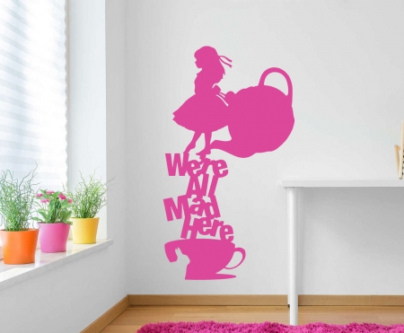 Alice in wonderland we're all mad wall decal sticker