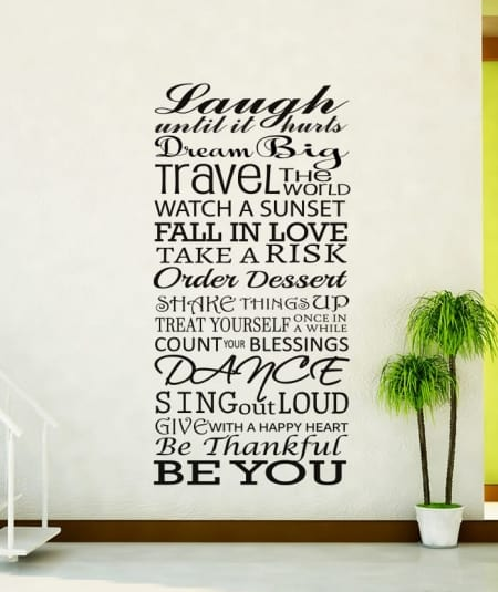 Life Rules laugh until it hurts wall decal sticker