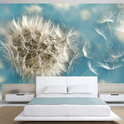 Dandelion flying seeds wall mural