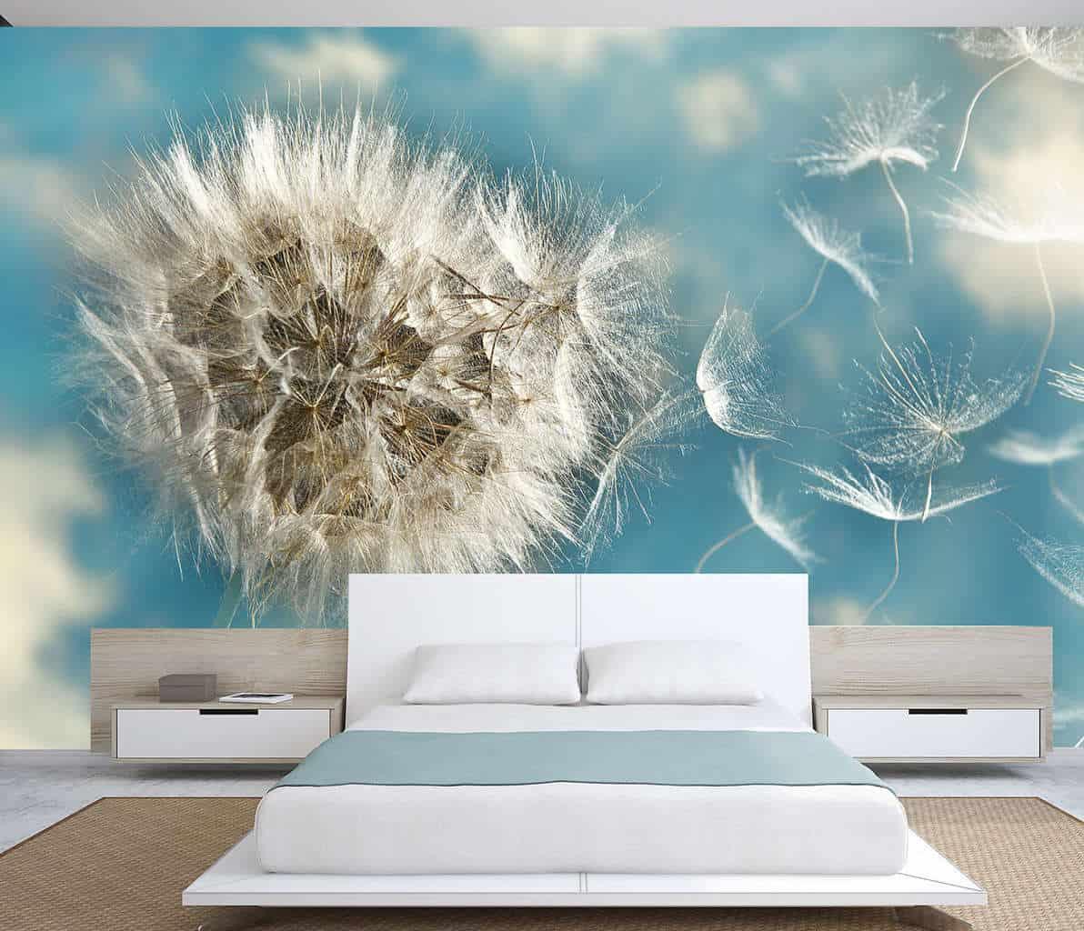 Dandelion flying seeds wall mural
