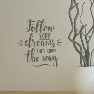 Follow your dreams they know the way wall decal sticker
