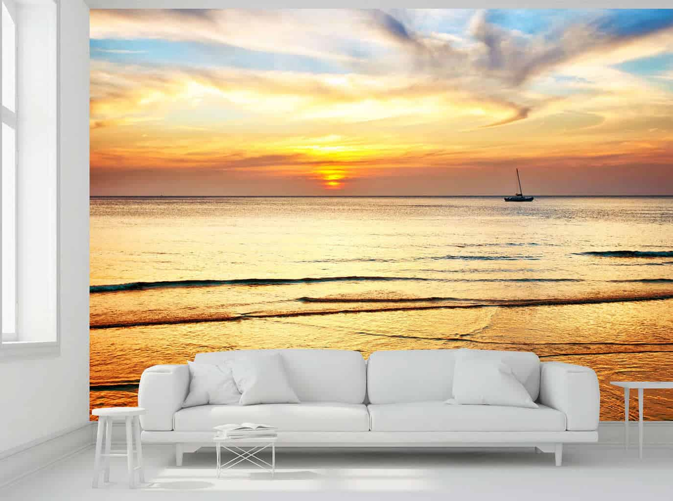 Sunset sea boat wall mural