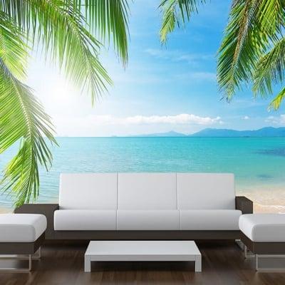 Sea View Palm Tree Wall Mural