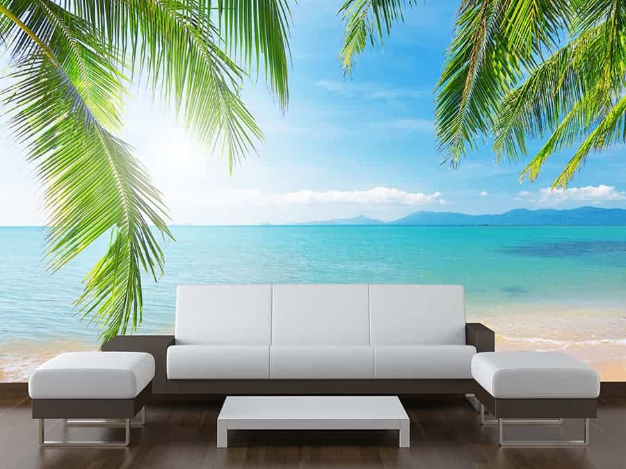 Sea View Palm Tree Wall Mural