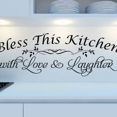 Bless This Kitchen with Love & Laughter wall decal