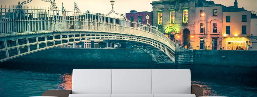 Wall Murals Dublin City Ha'Penny Bridge Twilight Wall Mural
