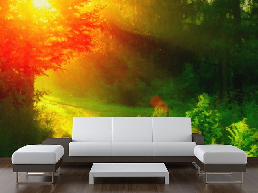 Sunset Tree Landscape Wall Mural
