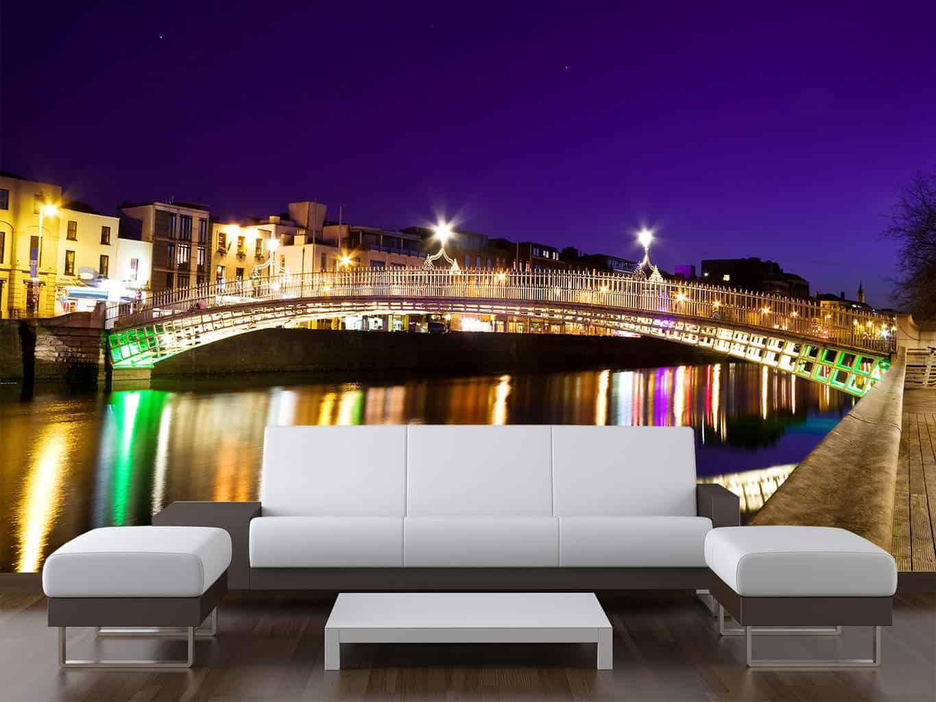 Dublin City Ha'Penny Bridge Nighttime Wall Mural