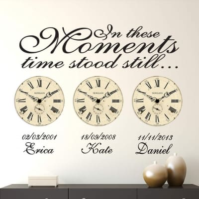 In these moments time stood still date of birth wall decal stickers